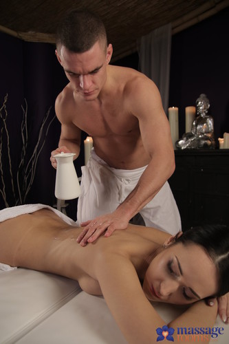 Angie Moon - Dark haired babe on massage table