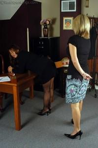 Cindy Bends Over Ms. Burns Desk - image6