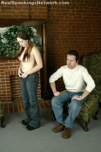Amy Gets A Topless, Bare Bottom OTK Strapping From M - image3